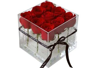 Square Waterproof Acrylic Flower Box With Lid For Packing Environmentally Friendly