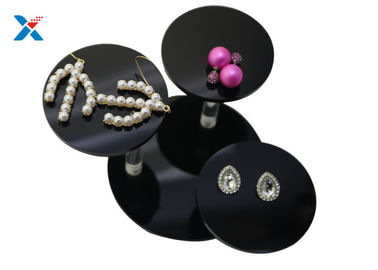 Black Acrylic Jewelry Organizer Necklace Bracelet Earring Display With Round Tray